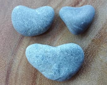 3 Sea Stone Hearts, Stone Pebble Rock Heart, Beach Stone Heart Shapes, Erie Lake Heart Pebble ~ st100