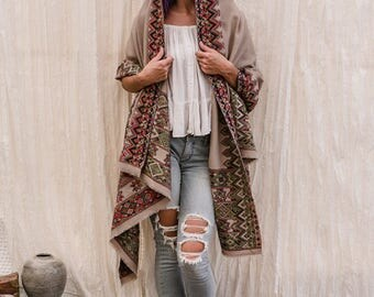 Tribal Embroidered Shawl, Wool Shawl, Indian Shawl, light Brown, Shawl, Wrap, kulu Shawl, Womens Gift, For Her, For Mom