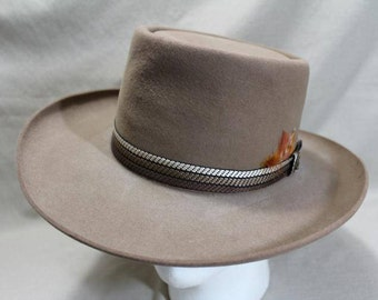 Vintage Resistol Roundup Collection Fur Felt Tan Light Brown Western Rancher Men's Hat Self Conforming Size 7 56 cm