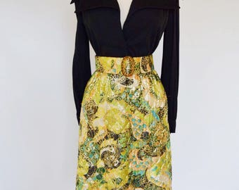 VTG Custom 70's Belted Mini Dress with Quilted Brocade Skirt