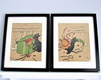 "Cecil Aldin Original Lithograph 1910 Puppies ""Rough & Tumble"""