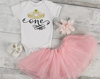 One Year Old Princess Birthday One-Piece Bodysuit Creeper Romper Baby Shower Gift Infant Toddler Funny Bodysuit Tiara Crown Cute Clothes