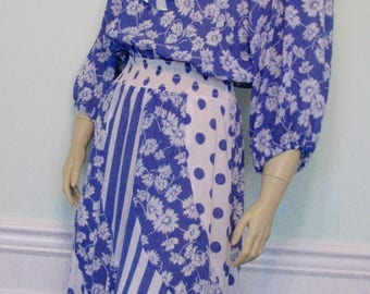 Vintage Dress Susan Freis Daisies Polka Dots Ruffle Blue Assorti