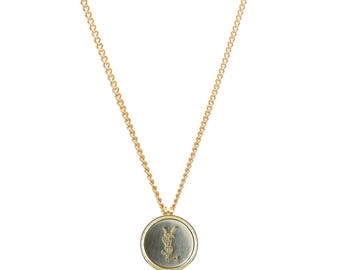 Re-worked Gold & Silver YSL Chain Unisex Pendant Necklace Yves Saint Laurent Vintage Button Engraved