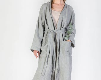Linen robe, Vintage style natural linen robe, Women's linen bathrobe, Long linen gown, Luxurious spa robe, Stonewashed linen robe