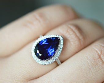 Sapphire Ring Sapphire Engagement Ring September Birthstone Ring Blue Sapphire Statement Ring Wedding Ring Halo Engagement Ring