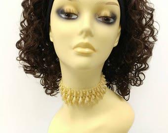 Short 13 inch Dark Brown Curly Heat Resistant Headband Wig. [67-352B-SBand-4]