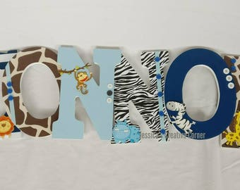 Nursery letters, jungle themed letters, safari letters, animal letters, boy nursery letters, hanging wall letters, nursery decor