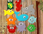 Felt Magnetic Fishing Game, Kids Magnet Fishing Set, Quiet toy accessory for imaginative play, felt sea animals, fish, whale,turtle, shark
