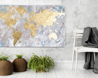 Map art, Map of the world, Gold Leaf Art, Painting on Canvas, World Map Painting, Word map decor, Map wall art, Large Paintingi, Nikki