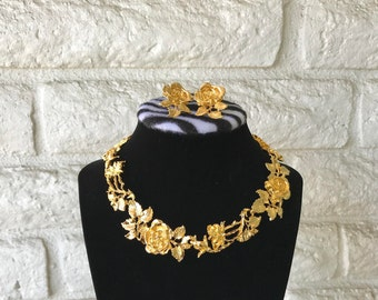 Vintage Roses Necklace and Earrings // Valentine Roses // Designer Judith Woracek Mullen Necklace and Earrings // 90s Designer Jewelry Set