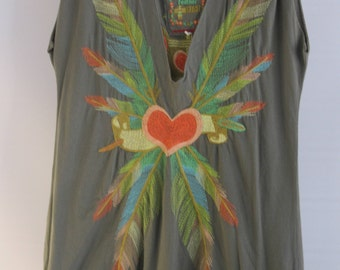 Johnny Was  Falcoln Feather Olive Green Top, Boho, XL