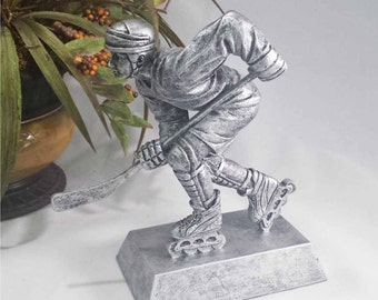 Male Inline Skate Award - Street Hockey Award - Silver Resin Trophy - Free Engraving