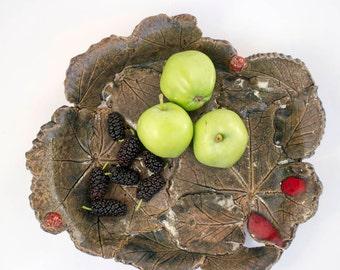 leaf dish, ceramic leaf, ceramic dish, pottery fruit dish, anniversary gift, stoneware serving dish, olive dish, ladybugs