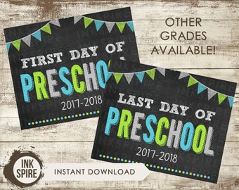 Printable First and Last Day of Preschool School Chalkboard Sign, Back to School Sign, School Chalkboard Poster, INSTANT DOWNLOAD