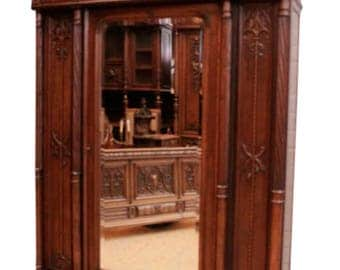 Wonderful Quality on this Antique French Gothic Armoire or Bookcase, Lots of Storage, Walnut #8525