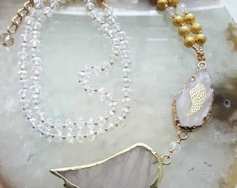 Angel Wing Long Beaded Necklace Gold Faceted Clear Crystal Quartz Feather Natural Gemstone Mala Beads Rondelle Gift