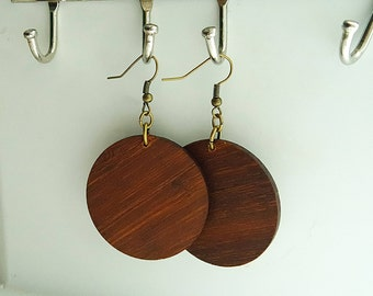 Brown Bamboo Lightweight Circle earrings / Wood Disc earring / wood hoop / inspired by Joanna Gaines fixer upper / sustainable bamboo wood