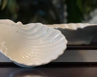 Pair of Antique White Ironstone Shells/ Ironstone Open Salts