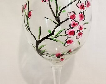 Cherry Blossom Branch Wine Glass
