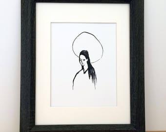 Black and White Printable Art, Catholic Art, Catholic Digital Art, Confirmation Gift, Sponsor Gift, Catholic Gift, 8x10, 5x7, Female Saint,