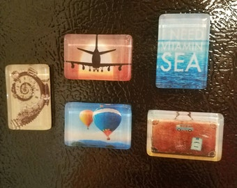 Clear tile magnets -  Travel Theme