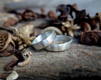 Wedding Band set Artisan Men's Wedding Ring Sterling Silver Commitment Ring Engagement Ring Unique ring Jewelry Silver & Gold Unique