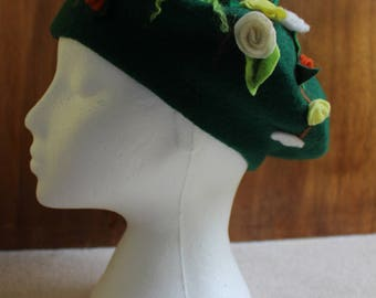 Dark Green Beret With 3D Roses In White, Cream, Pale Yellows And Terracotta