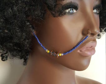 Nose Chain - Ear To Nose Chain - Nose Jewelry - Face Chain - Nose Ring - Tribal Jewelry - Face Jewelry - Festival Jewelry - Cultural Jewelry