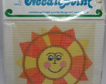 Vintage Sunshine Needlepoint Kit, Sun, Embroidery Kit