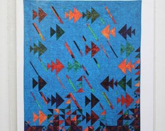 "Go Fish:  60"" x 72"" quilt pattern."