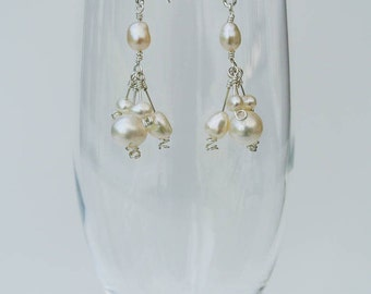 Cascading Cherry Blossom Pearl Drop Earrings - Ivory White Freshwater Pearls and Sterling Silver Handmade Earrings in an Art Nouveau Style