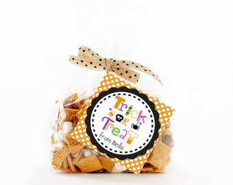 Halloween Treat Tags, Trick or Treat Tags, Halloween Favor Tags, Printable Personalized Halloween Tags, Halloween Gift Tags, Halloween Tags