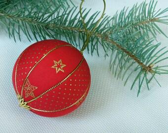 Christmas tree balls decor red and gold Christmas decoration Safe Christmas ornament handmade xmas gifts fabric ornament kimekomi ball
