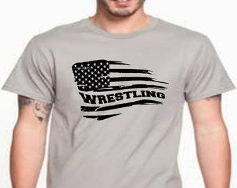 Wrestling Flag, Wrestling, Wrestling Shirt, Wrestling Gift, DDShirts, Wrestling Gifts, USA Wrestling