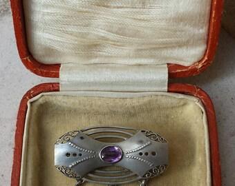 Christian SEYBOLD rare, signed Pforzheim Jugendstil / Art Nouveau 935 silver Depose and purple stone brooch