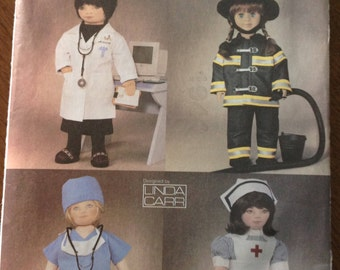 Vogue Doll Uniform Pattern, Linda Carr design, doll's doctor uniform, doll's firefighter uniform, doll's nurse uniform, dolls scrubs uniform