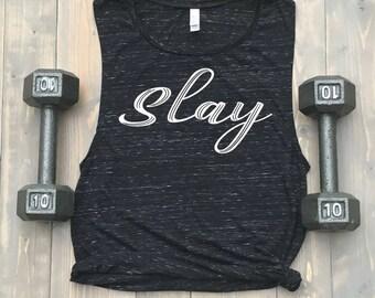Slay Women's Muscle Tank // Bella Flowy Scoop Tank // Black Marble // Beyonce // Gym Tank // Crossfit // Barre // Spin // Fitspo