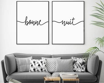 Bonne Nuit Print, Bedroom Wall Art, Set of 2 Prints, French Nursery Print, Set of Prints, Bedroom Wall Decor, French Quote, Bedroom Prints