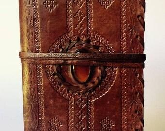 Leather Bound Journal, Leather Journal, Leather Notebook, Blank Leather Journal, Semi-Precious Stone Journal