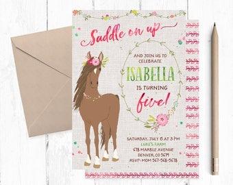 Horse Invitations for girls, Horse Invitations, Horse Invitation, Horse Invite, Horse Invites, Horse Birthday Party Invitations, Horse theme
