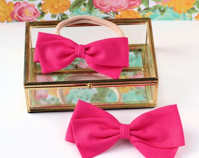 Hot Pink Hair Bows - Baby Hair Bows - Hair bows For Girls