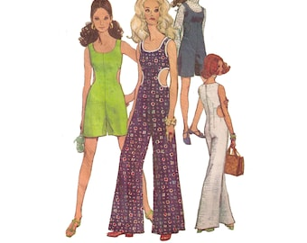 """Simplicity 8244, 60s sewing pattern, size 10 bust 32"""" women's jumpsuit pattern, overalls pattern, ankle length pants"""