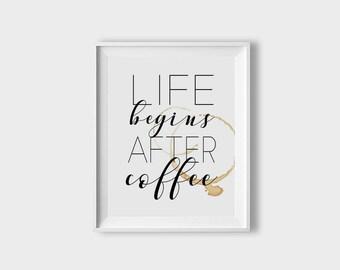 Coffee Printable Decor, Office Wall Art, Coffee Art Print, Coffee Kitchen Art, Nordic Design Print, Coffee Bar Art, Coffee Station Art Print