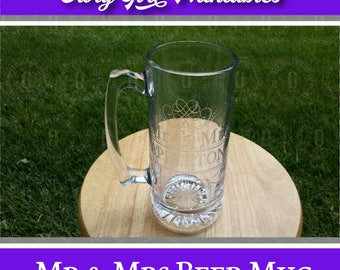 Mr and Mrs Personalized Large 25 oz. Etched Beer Mug