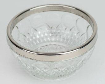 "4.5"" cut glass bowl with silver trim"