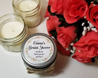 12 - 4 oz Personalized Bridal Shower Candles - Bridal Shower Favor - Bridal Shower Prize - Thank You Gift - Bridal Shower Gifts - Guest Gift