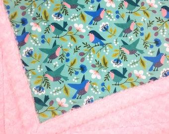 Bird Baby minky blanket, birds blanket,  neutral gender throw blanket, blue and teal cuddle blanket, baby shower gift, birth gift