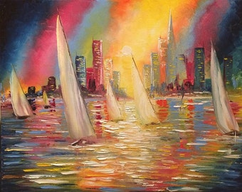 "Sail boats - Ocean - sunset - city - wall art - Large art ""Regatta"" by U.S. Artist Greg Gilreath"