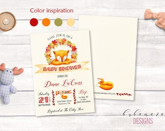 Fox Baby Shower Invitation Woodland Baby Shower Invite Forest Orange Fall Leaves Red Baby Shower Unisex Neutral Baby Invitation - CS021